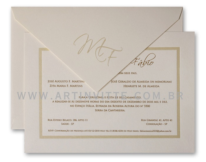 Convite de casamento Capri CP 003