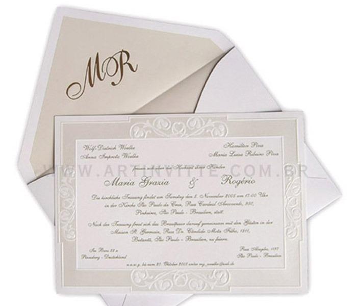 Convite de Casamento Shangri-lá SH 001 com forro pérola