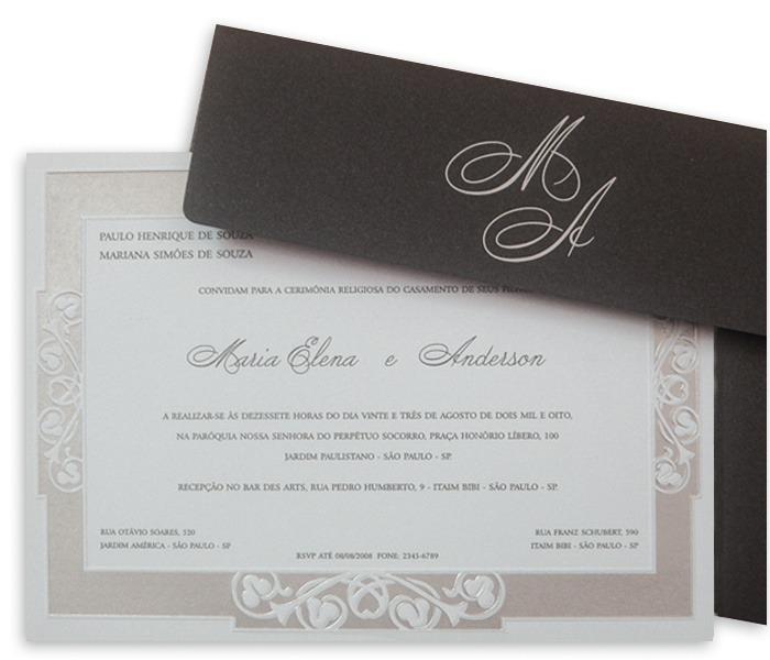 Convite de Casamento Shangri-lá SH 004 em preto e prata