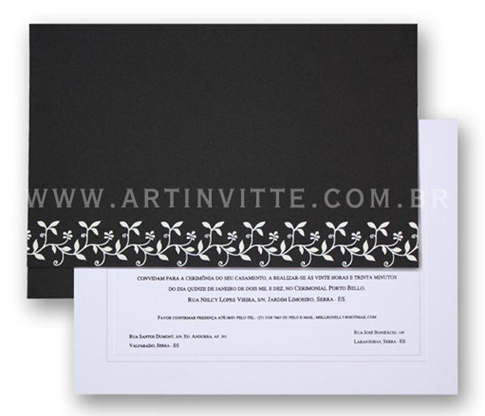 Convite de casamento - Toronto 18x24 em branco liso com texto em preto e envelope reto de aba reta longa em papel Color Plus Los Angeles (preto) com impressão em epóxi branco.