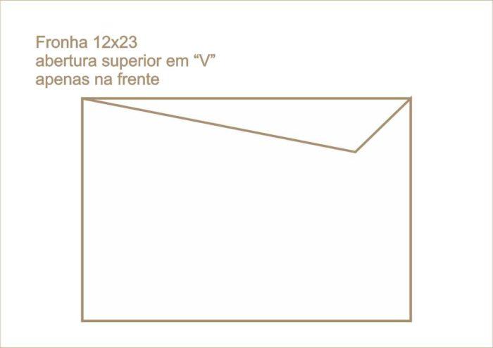 Envelope fronha abertura superior em v apenas na frente 016