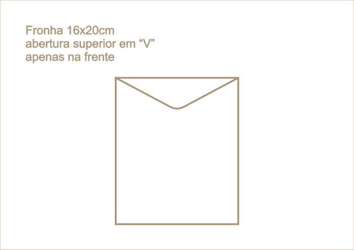 Envelope fronha com abertura superior em v apenas na frente 017