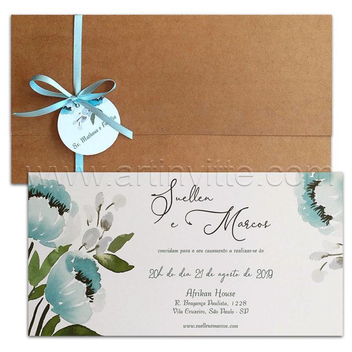 Convite de casamento rústico floral - Art Invitte Convites - CT 022