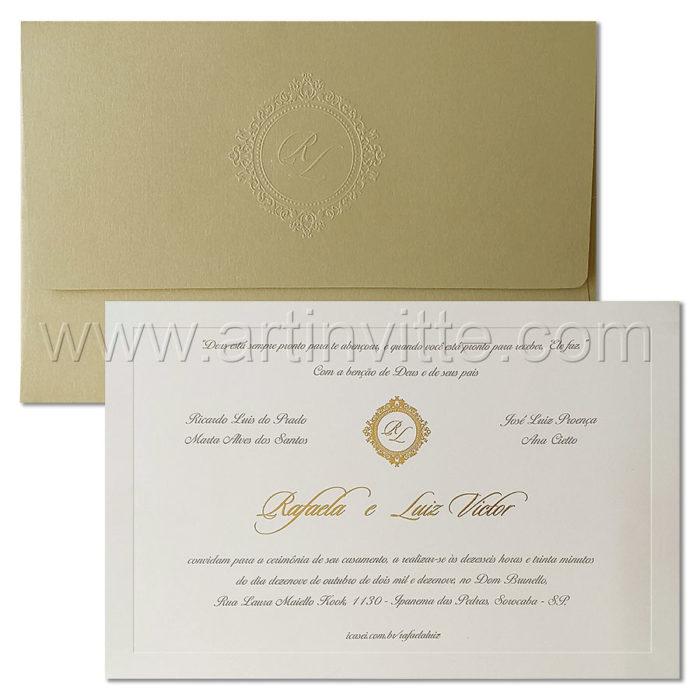 Convite de casamento Branco e Dourado - Modelo Veneza VZ 223- Art Invitte Convites