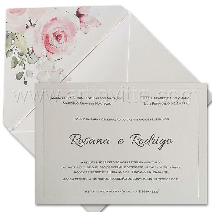 Convites de casamento com toques florais - Modelo Vezena VZ 224