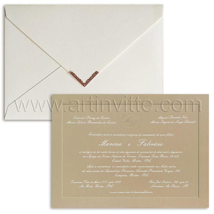 Convite de casamento com ponteira - Veneza VZ 227 - Art Invitte Convites