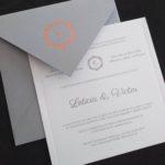 Convite de casamento em tons de cinza e rosê - Veneza VZ 170