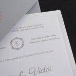 Convite de casamento em tons de cinza e rosê - Veneza VZ 230
