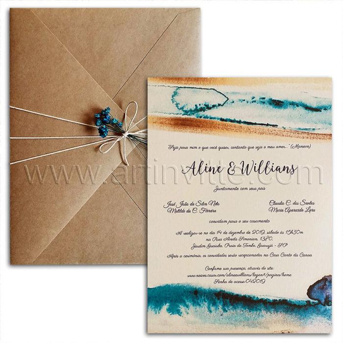 Convite de casamento para casamento praia - Haia HA 102 envelope kraft convite com aquarela