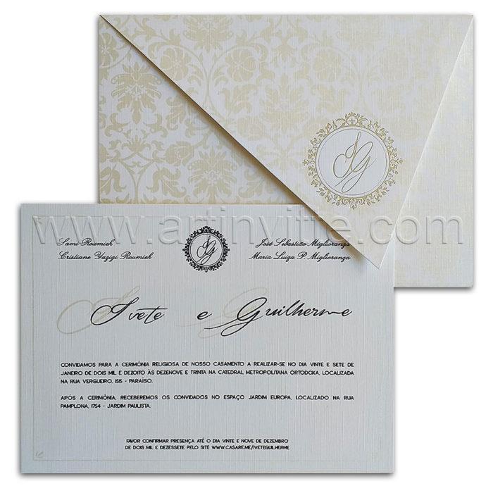 Convite de casamento em papel telado Haia HA 104