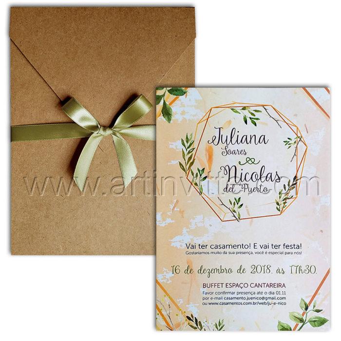 Convite de casamento rústico com Haia HA 105 - com impressão digital e envelope em kraft