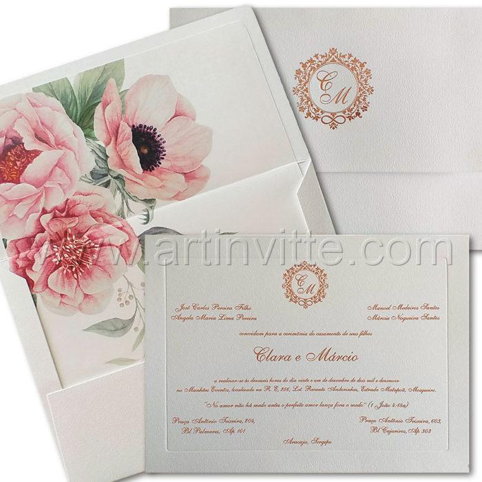 Convite de casamento Romântico com forro floral VZ 231