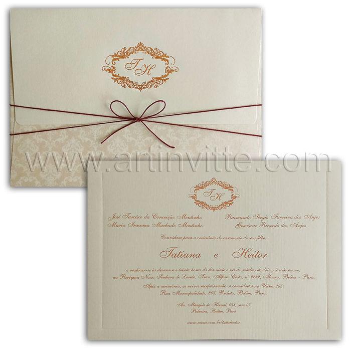 Convite de casamento clássico com estampa em rosa perolado veneza VZ 224