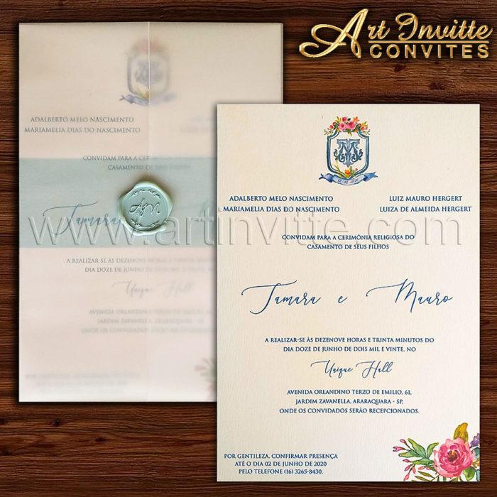 Convite de casamento com brasão aquarelado Haia HA 106