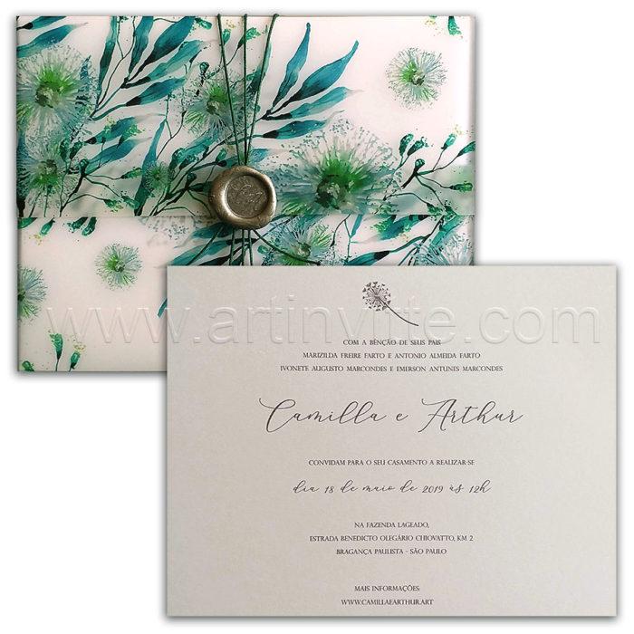 Convite de casamento com folhagem no vegetal Haia HA 107