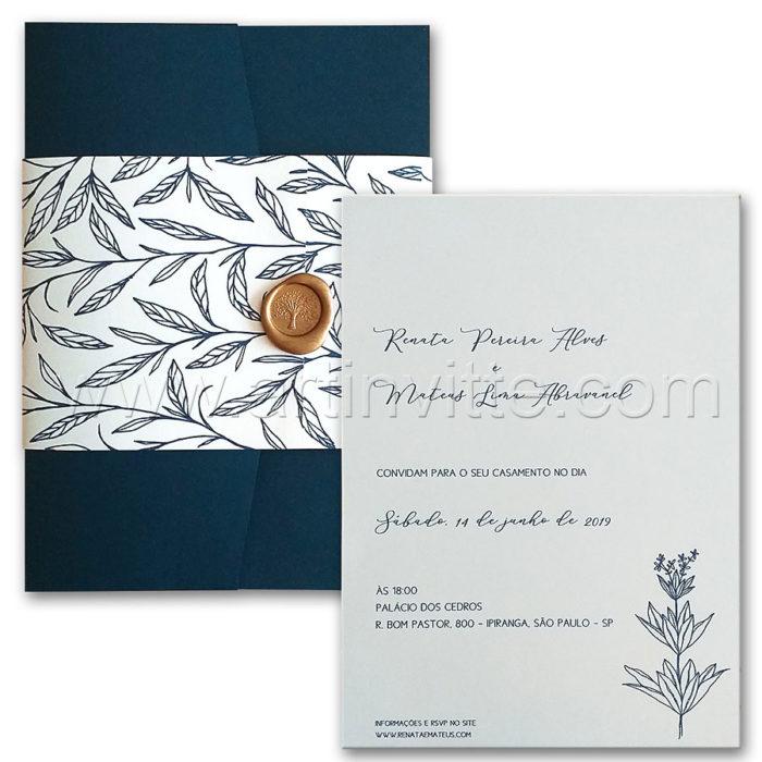 Convite de casamento com ilustração de folhinhas Haia HA 108