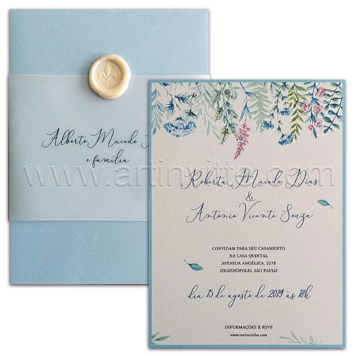 Convite de casamento com aquarela delicada - Haia HA 109 - Art Invitte Convites