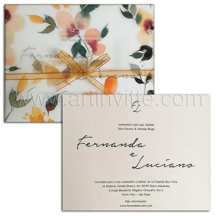Convite de casamento com folhagem no vegetal Haia HA 110