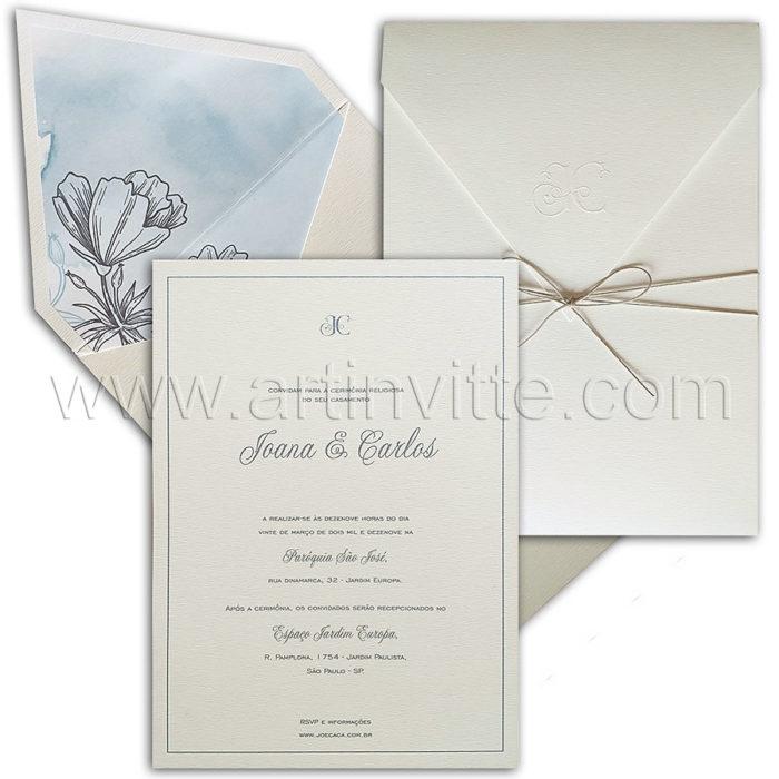 Convite de casamento com forro em tons de cinza - Art Invitte Convites