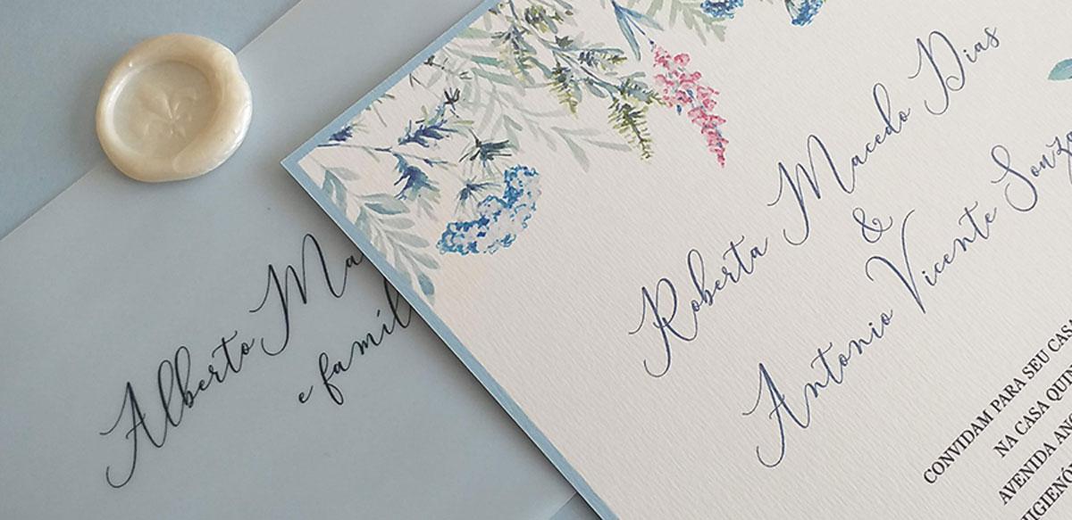 Convites de casamento com aquarela 1