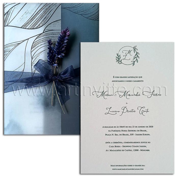 Convite de casamento em tons de azul escuro - Art Invitte Convites