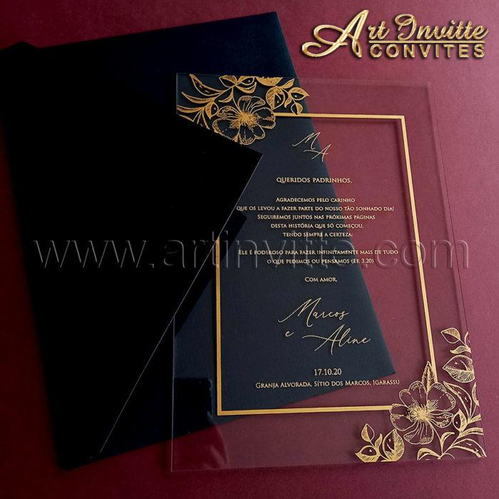 Convite de casamento CAR 041 em Acrílico com impressão em dourado