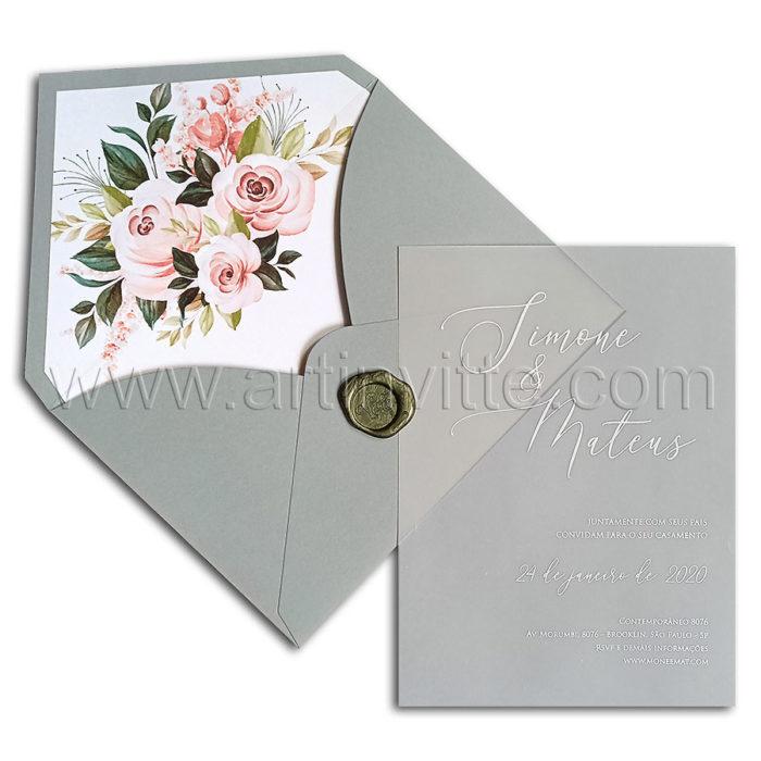Convite de casamento HA 117 Vegetal com impressão em branco