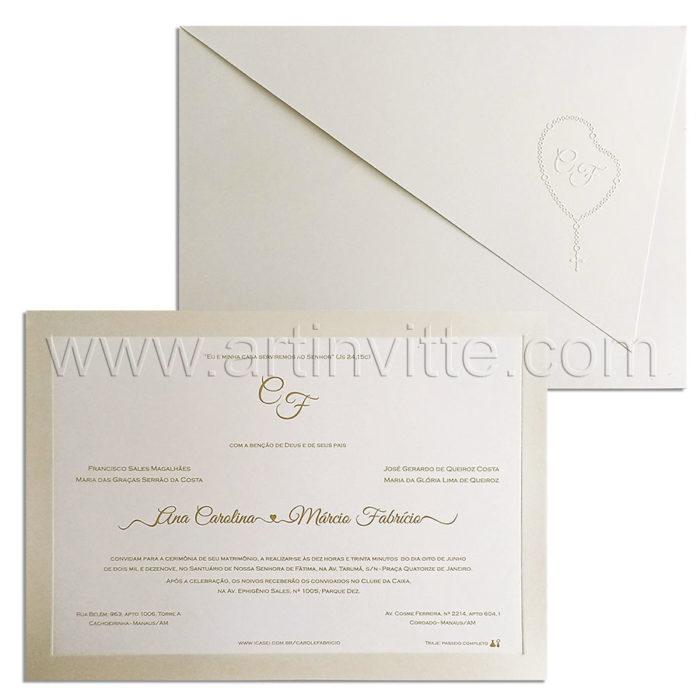 Convite de casamento Veneza VZ 240 - Monograma dentro do terço em relevo seco