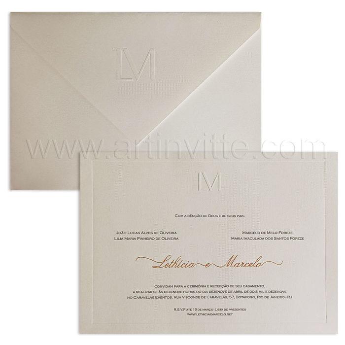 Convite de casamento Veneza VZ 241 - tradicional com monograma moderno