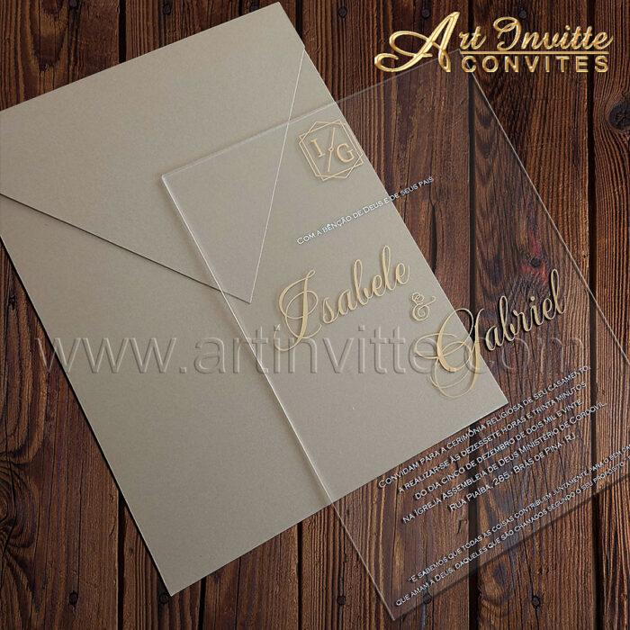 Convite de casamento CAR 044 em Acrílico com impressão em hot stamping