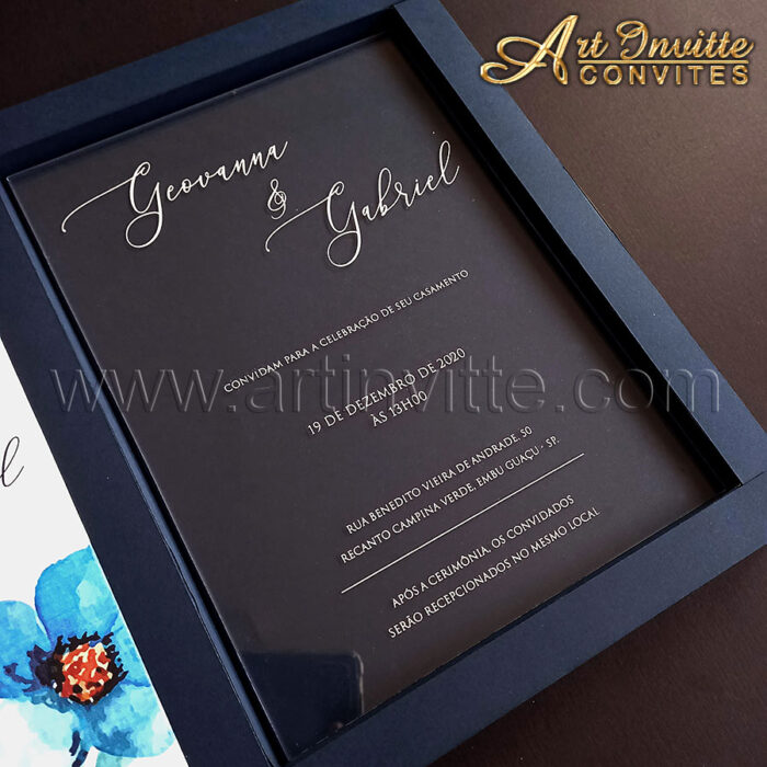 Convite de casamento em acrílico com caixa personalizada