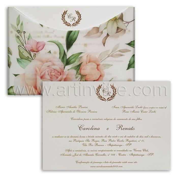 Convite de casamento em papel Markatto Concetto Naturalle 250g Haia HA 121