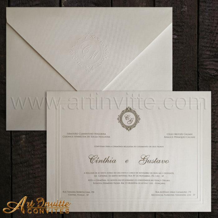 Convites de casamento tradicional Amsterdam AM 015 com brasão e texto em prata