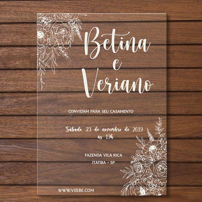 Convite em acrílico - convite de casamento em acrílico CCA 001