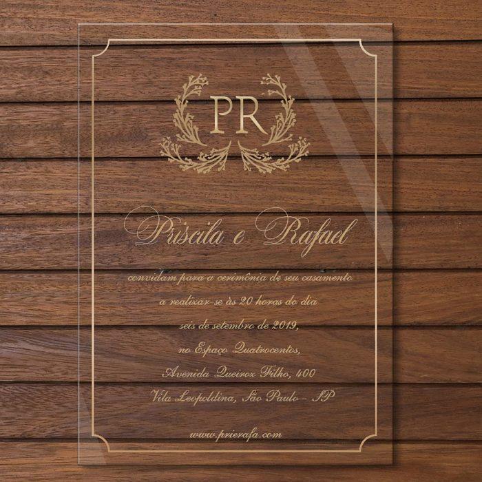 Convite em acrílico - convite de casamento em acrílico CCA010