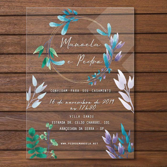 Convite em acrílico - convite de casamento em acrílico colorido CCA 011