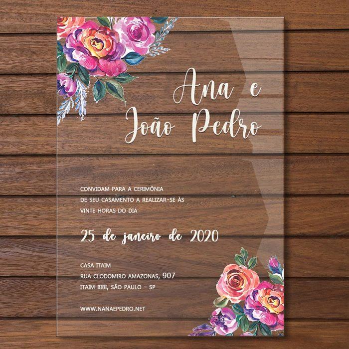 Convite em acrílico colorido - convite de casamento em acrílico CCA 012
