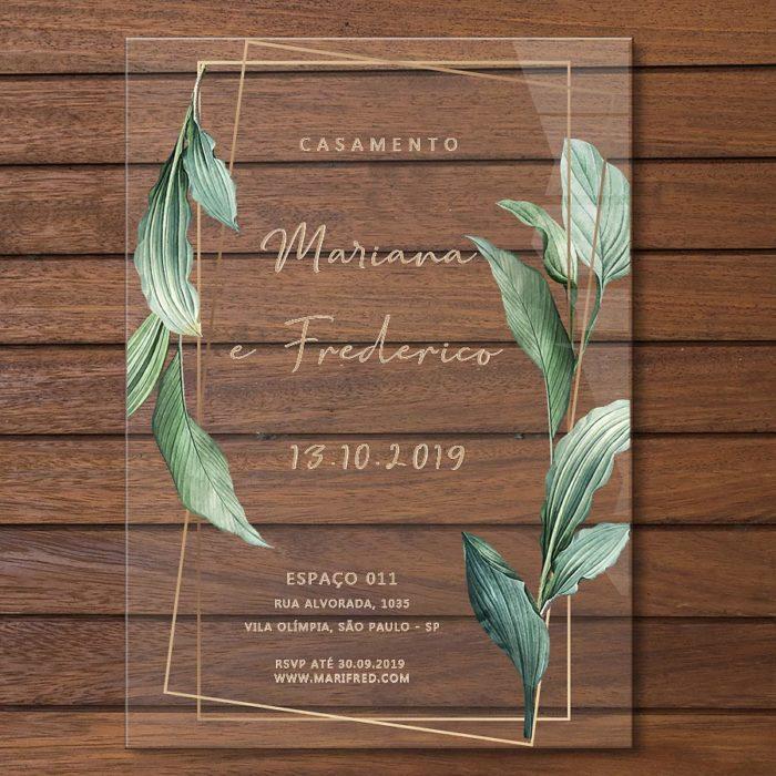 Convite em acrílico colorido - convite de casamento em acrílico CCA 013