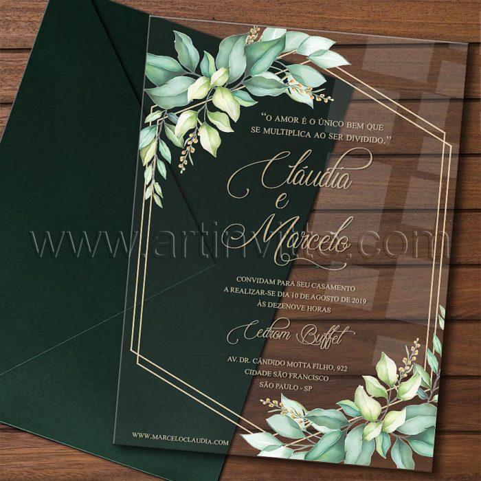 Convite em acrílico com impressão colorida CAR 015