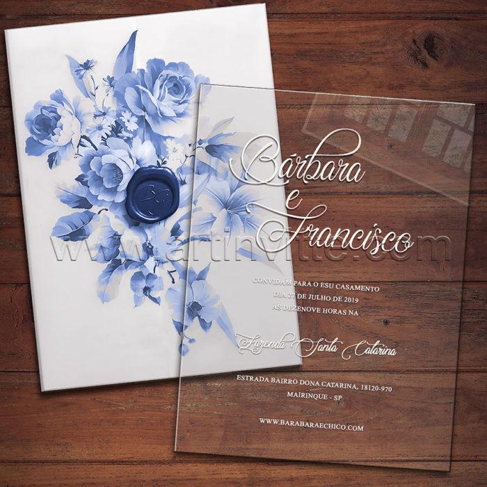 Convite em acrílico para casamento CAR 022