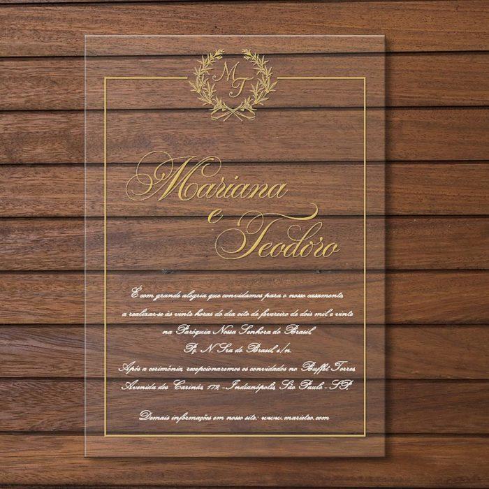 Convite em acrílico - convite de casamento em acrílico CCA003