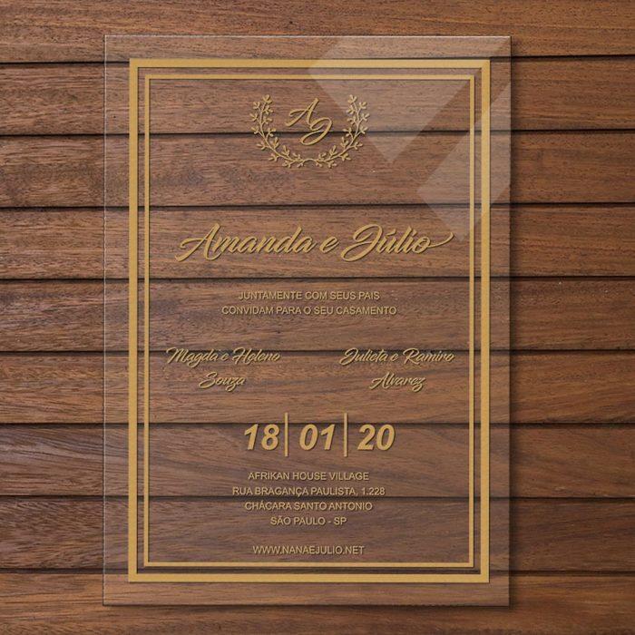 Convite em acrílico - convite de casamento em acrílico CCA 005