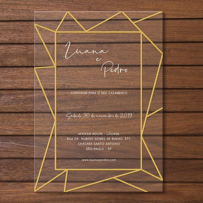 Convite em acrílico - convite de casamento em acrílico CCA 006