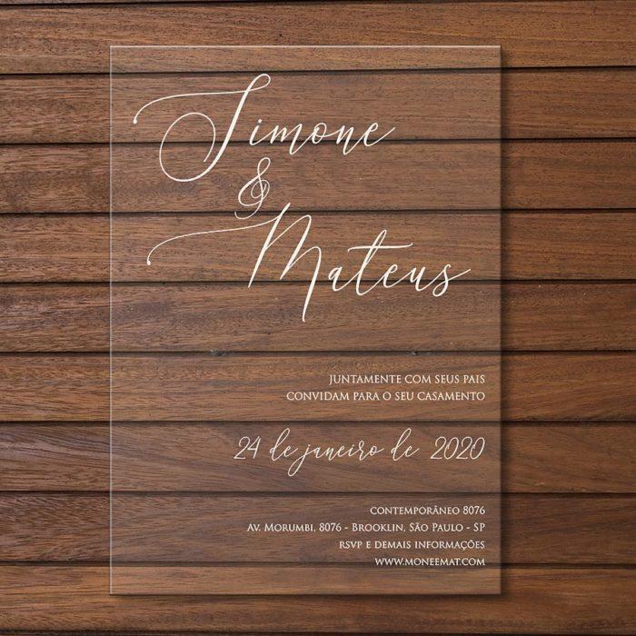 Convite em acrílico - convite de casamento em acrílico CCA007