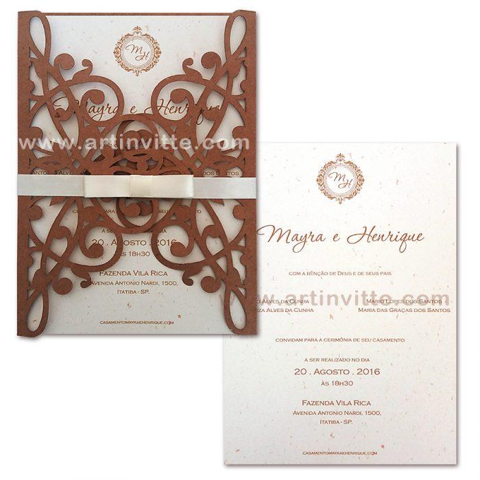 Convite de casamento rústico com corte a laser CCL 001 - convites rústicos