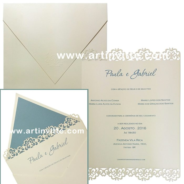 Convite de casamento CCL 003 com corte a laser