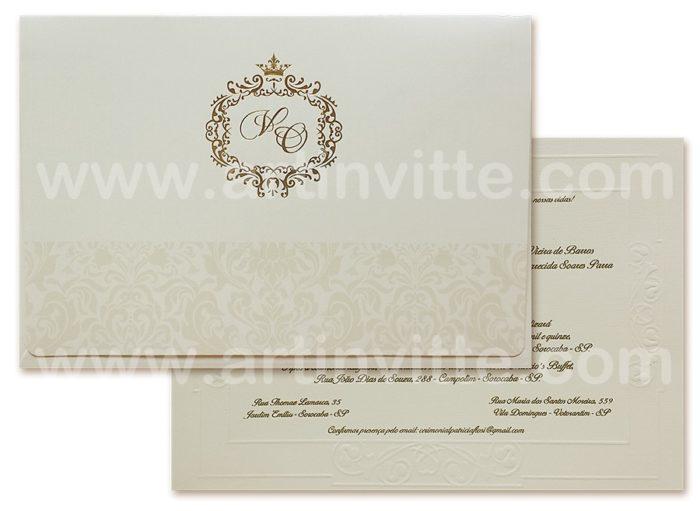 Convite de casamento Shangri-lá pérola e dourado