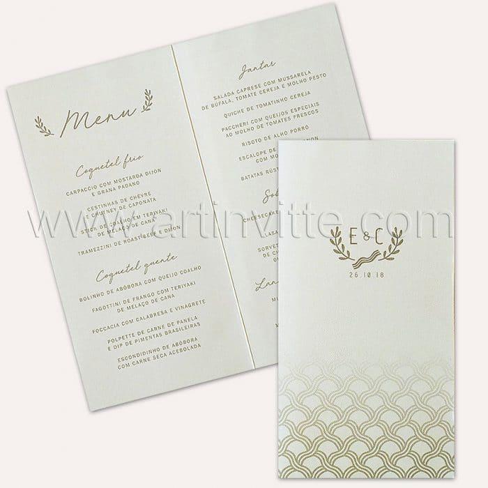 Cardápio para casamento e 15 anos - Card 012 - Ondas em Prata - Art Invitte Convites