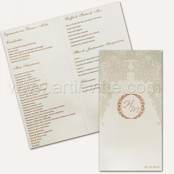 Cardápio para casamento e 15 anos - Card 013 - Renda e Rosê - Art Invitte Convites