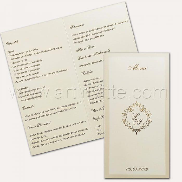Cardápio para casamento e 15 anos - Card 014 - Clássico em Pérola e Dourado - Art Invitte Convites